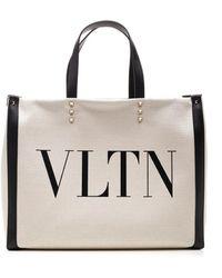 Valentino Vltn Printed Tote Bag - Natural
