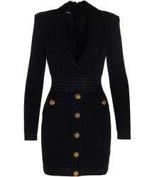 Balmain Knitted Tailored Dress - Black