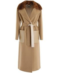 Fendi Straight Cut Belted Coat - Natural