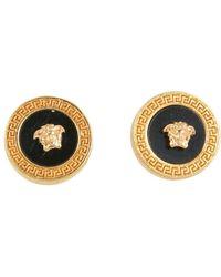 Versace Resin Medusa Button Earrings - Metallic
