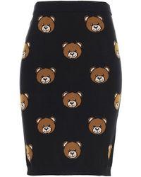 Moschino Allover Teddy Knitted Skirt - Black