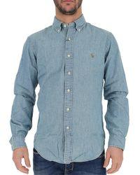 Ralph Lauren Logo Denim Shirt - Blue