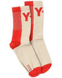 Y-3 Color Block Logo Socks - Red