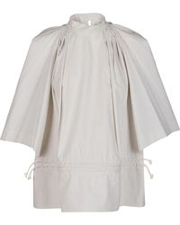 Lemaire Drawstring Detail Striped Blouse - Natural