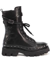 Pinko Love Birds Lace-up Combat Boots - Black