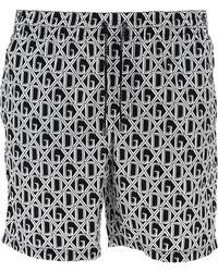 Dolce & Gabbana Monogram Print Swim Shorts - Black