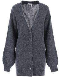 See By Chloé Marled Fuzzy Cardigan - Gray