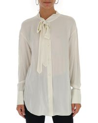 Theory - Tie Neck Blouse - Lyst