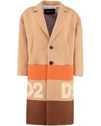 DSquared² Intarsia Wool Coat - Orange