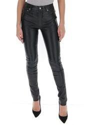 Saint Laurent High Rise Skinny Trousers - Black