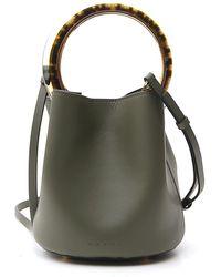 Marni Pannier Top Handle Bucket Bag - Green