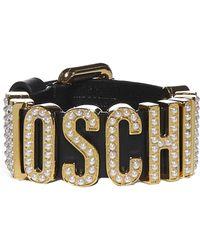 Moschino Logo Leather Bracelet - Black