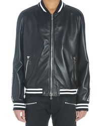 Balmain Leather Bomber Jacket With Logo - Black