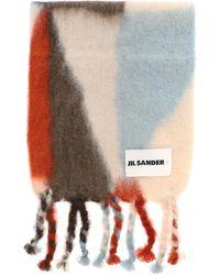Jil Sander Logo Patch Fringed Scarf - Multicolor