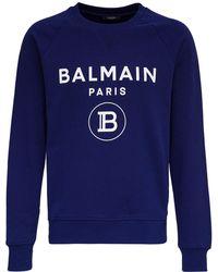Balmain Cotton Sweatshirt With Logo Print - Blue