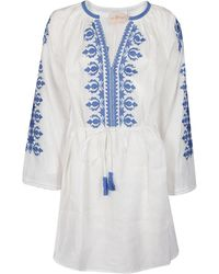 Tory Burch Embroidered Mini Dress - White