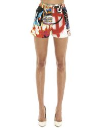 Moschino Graphic Printed Patchwork Mini Shorts - Multicolor