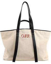 Off-White c/o Virgil Abloh Commercial Logo Print Tote Bag - Natural