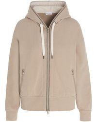 Brunello Cucinelli Zipped Hooded Sweatshirt - Natural