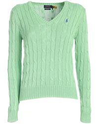 Polo Ralph Lauren Braided V-neck Sweater - Green