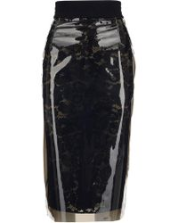 9baba940d1 LEWIT Lace Midi Skirt in Black - Lyst