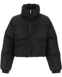 Prada Logo Plaque Zipped Puffer Jacket - Black