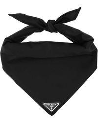 Prada Logo Plaque Embellished Neckerchief - Black