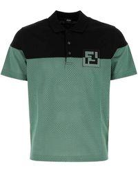 Fendi Ff Logo Two-tone Polo Shirt - Green