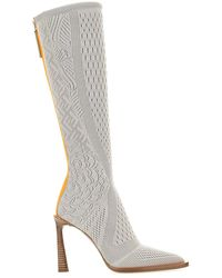 Fendi Ff Jacquard Knit Boots - Gray