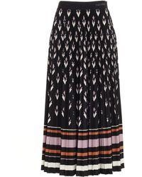 Valentino Pleated Midi Skirt - Black