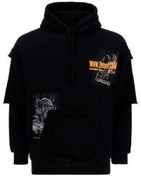 DIESEL Layered Sleeve Printed Hoodie - Black