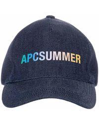 A.P.C. Summer Logo Print Baseball Cap - Blue