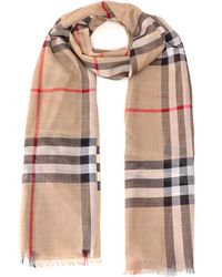 Burberry Lightweight Check Wool And Silk Scarf - Natural