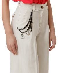 Elisabetta Franchi High Waisted Wide Leg Jeans - White
