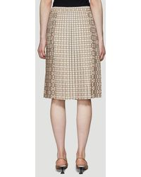 Burberry Multi Check Pleated Skirt In Beige - Natural