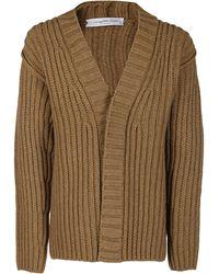 Ferragamo V-neck Rib Knit Cardigan - Natural