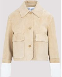 Loewe Buttoned Leather Jacket - Natural