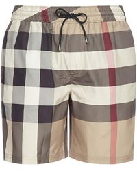 Burberry Check Drawcord Swim Shorts - Natural