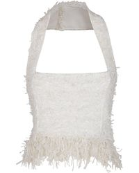 Balmain Cotton Blend Tweed Top With Fringes - White