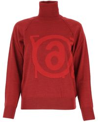 MM6 by Maison Martin Margiela Logo Intarsia Knit Jumper - Red