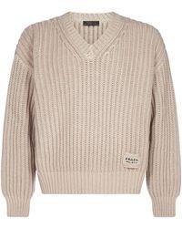 Prada V-neck Knitted Sweater - Natural