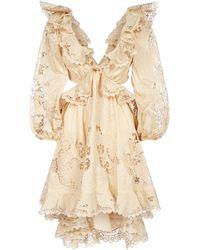 Zimmermann Brighton Scallop Mini Dress - Natural