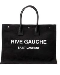 Saint Laurent Ysl Rive Gauche Tote Bag - Black