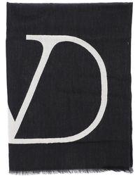Valentino Vlogo Frayed Hem Scarf - Black