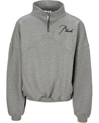 Rhude Logo Embroidered Half-zip Pullover - Gray