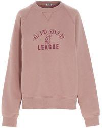 Miu Miu Logo Printed Sweatshirt - Pink
