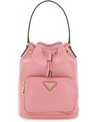 Prada Logo Bucket Bag - Pink