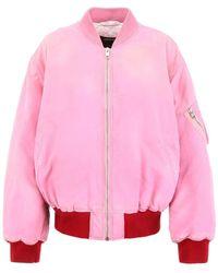 CALVIN KLEIN 205W39NYC Contrasting Trim Logo Bomber Jacket - Pink