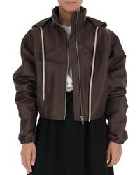 Rick Owens High Neck Cropped Jacket - Brown