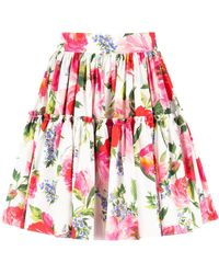 Dolce & Gabbana Floral Print Skirt - Red